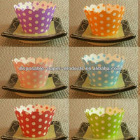2400 x Polka Dots Reversible Cupcake Wrappers & Sleeves,Cupcake COLLARS SKIRTS Cake WRAPS 14 colors, Free Shipping by DHL, Fedex