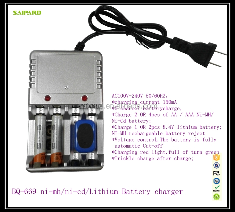 ni-cd ni-mh lithium battery charger aa aaa rechargeable battery charger