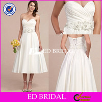 NS515 Delicate Beaded Handmade Flower Belt Tea Length Wedding Dress Pattern