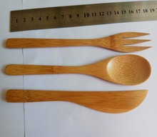 Portable 3pcs bamboo cutlery set spoon knife fork set with pouch and logo