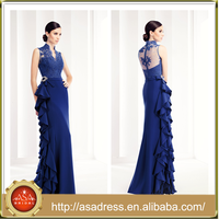 AED-35 Royal Blue Evening Party Gown See Through Back Sexy V-Neck Long Evening Dress New Arrival Formal Dresses