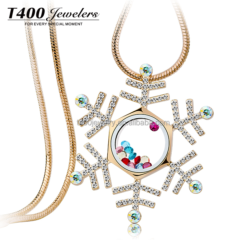 T400-2016 Fashion Gold Chains Long Lady Sweater Chains Snowflake#1896