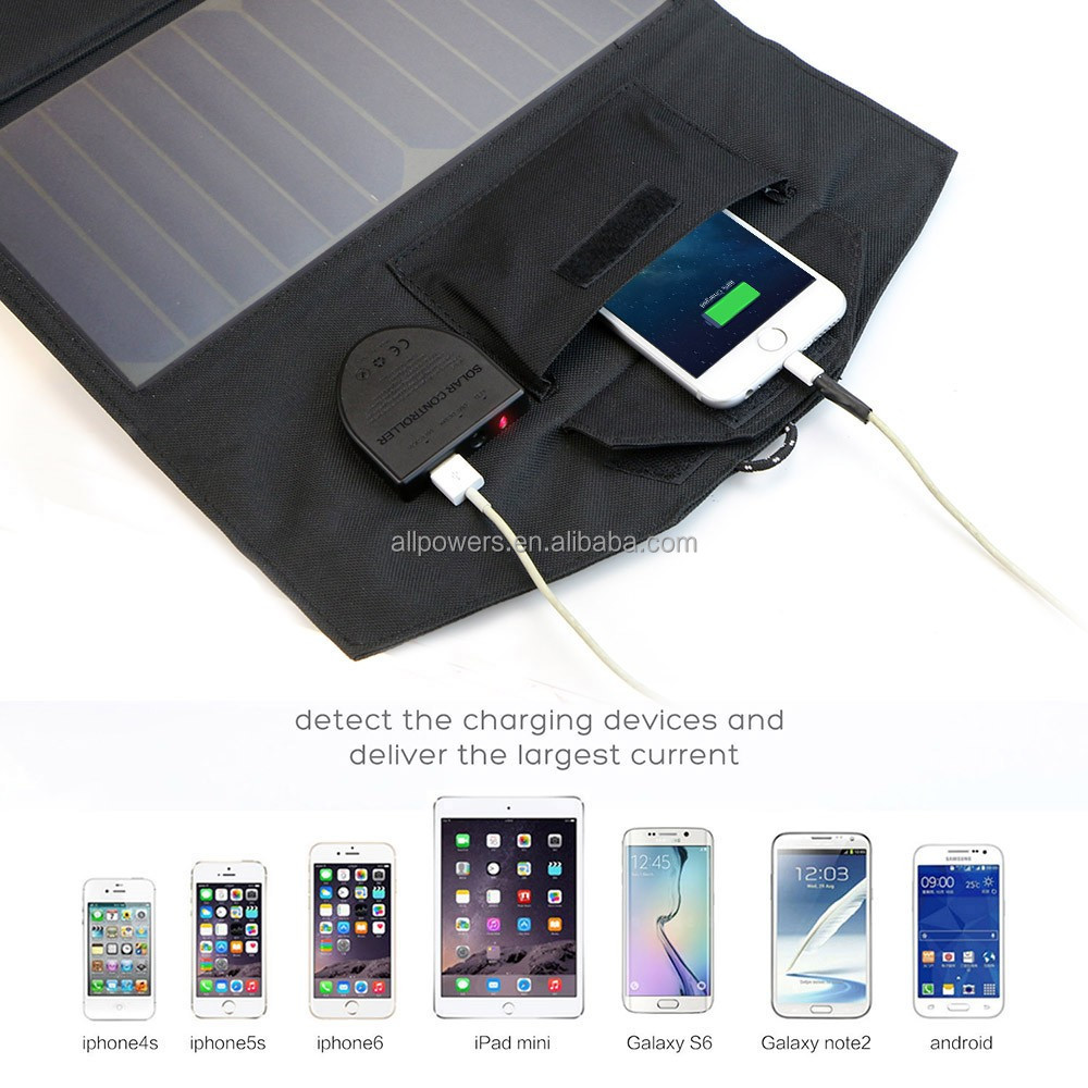 ALLPOWERS Outdoor camping hiking Dual USB output solar charger folding solar panel pack 18V 21W