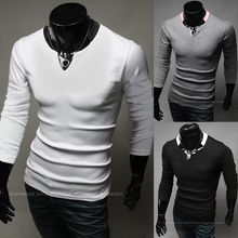 ROSETEAM T-shirt men 2015 new arrive Men's long-sleeved T-shirt collar mixed colors with collar slim fit male t shirt hot sellin