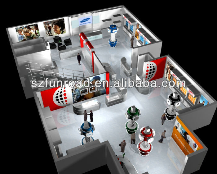 Mobile Phone Shop Interior Design With Display Cabinet