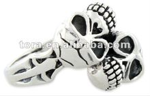 2012 so cool antique silver plated skull twins ring
