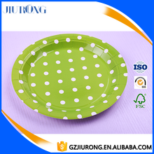 7 inch green paper polka dot disposable paper plates for dinner