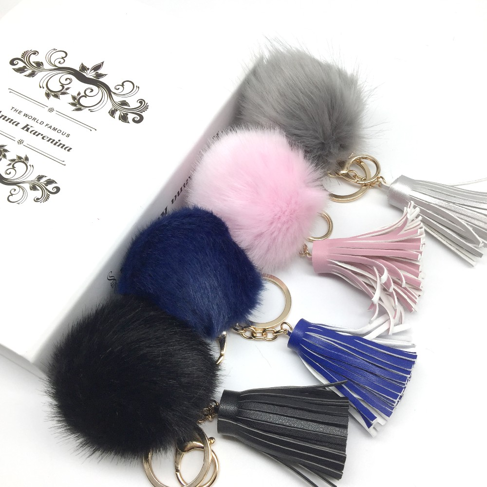 Pompom And Tassel Keychain Faux Fur Pompom With Tassel Key Chains Faux Fox Fur Balls Pom-pom Key Chains