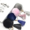 Pompom And Tassel Keychain Faux Fur