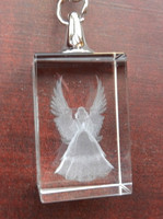 Guardian Angel 3D Laser Etched Crystal Key Ring MH-YS0391