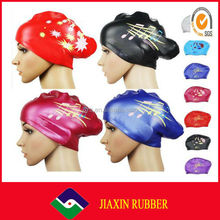 women waterproof printing ear protection rubber silicone custom swim cap for long hair