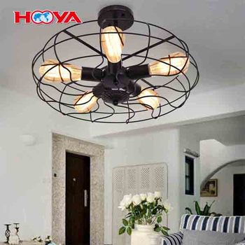 Semi Flush Mount Light Industrial Vintage Style Metal Hanging Flush Mount Lighting With Five Blubs Ceiling Light