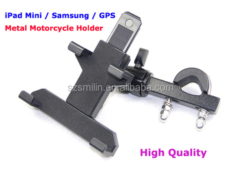 2014 Best Metal Motorcycle Bike Handlebar Mount Holder for iPad mini Samsung Phone GPS with Big Backup Scooter Stand Bracket