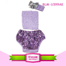 Girl shorts New boutique wholesale bloomer shiny bling panties spandex fabric sparkle baby sequin plain bloomers wrap 3 pcs set