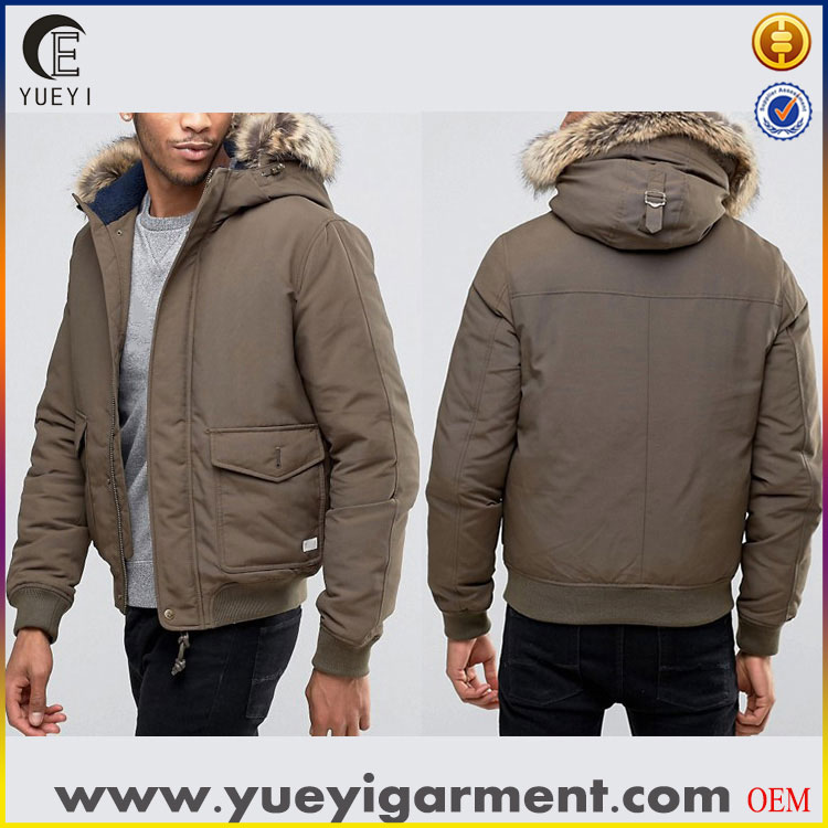 winter clothes down bomber jackets detachable faux fur trim men jacket