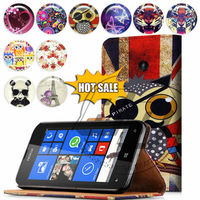 For Nokia Lumia 520 High Quality Print Card Holder Flip PU Folio Wallet Leather Case Cover Moible Phone Csae