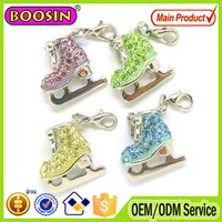 New arrival sport jewelry rhinestone ice skate charms with lobster clasp #8757