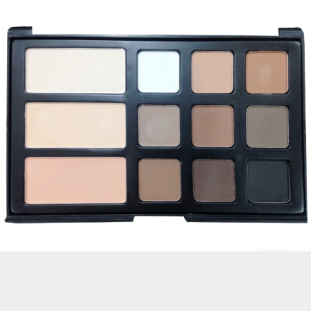 New 2018 customized professional 12 color makeup powder foundation palette with combo matte eyeshadow palette