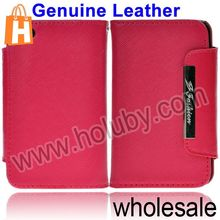 Woven Texture Magnetic Cover Flip Genuine Leather Case for iPhone 4S 4 with Card Slots (4 Colors Optional)