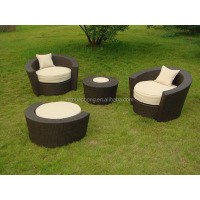 HC-J002 synthetic white rattan outdoor furniture round
