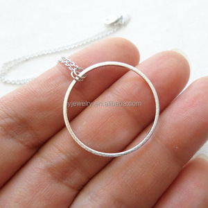 Wholesale big round pendant sterling Silver ring holding necklace simple life jewelry