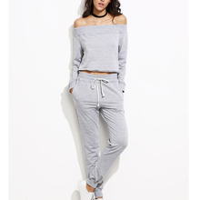 OEM wholesale cheap price off shoulder top track pants sweat suits for ladies from alibaba china