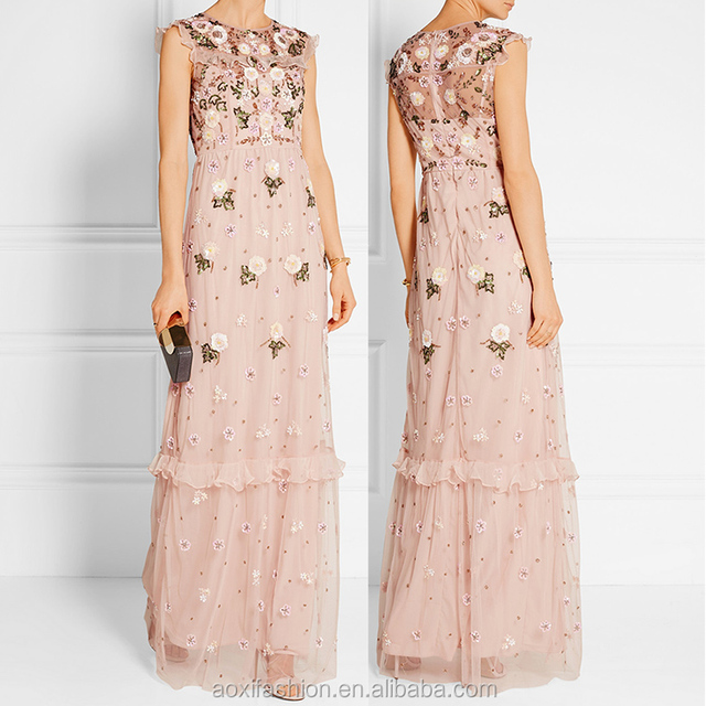 OEM service supply type sleeveless elegant ladies mexican embroidered dress