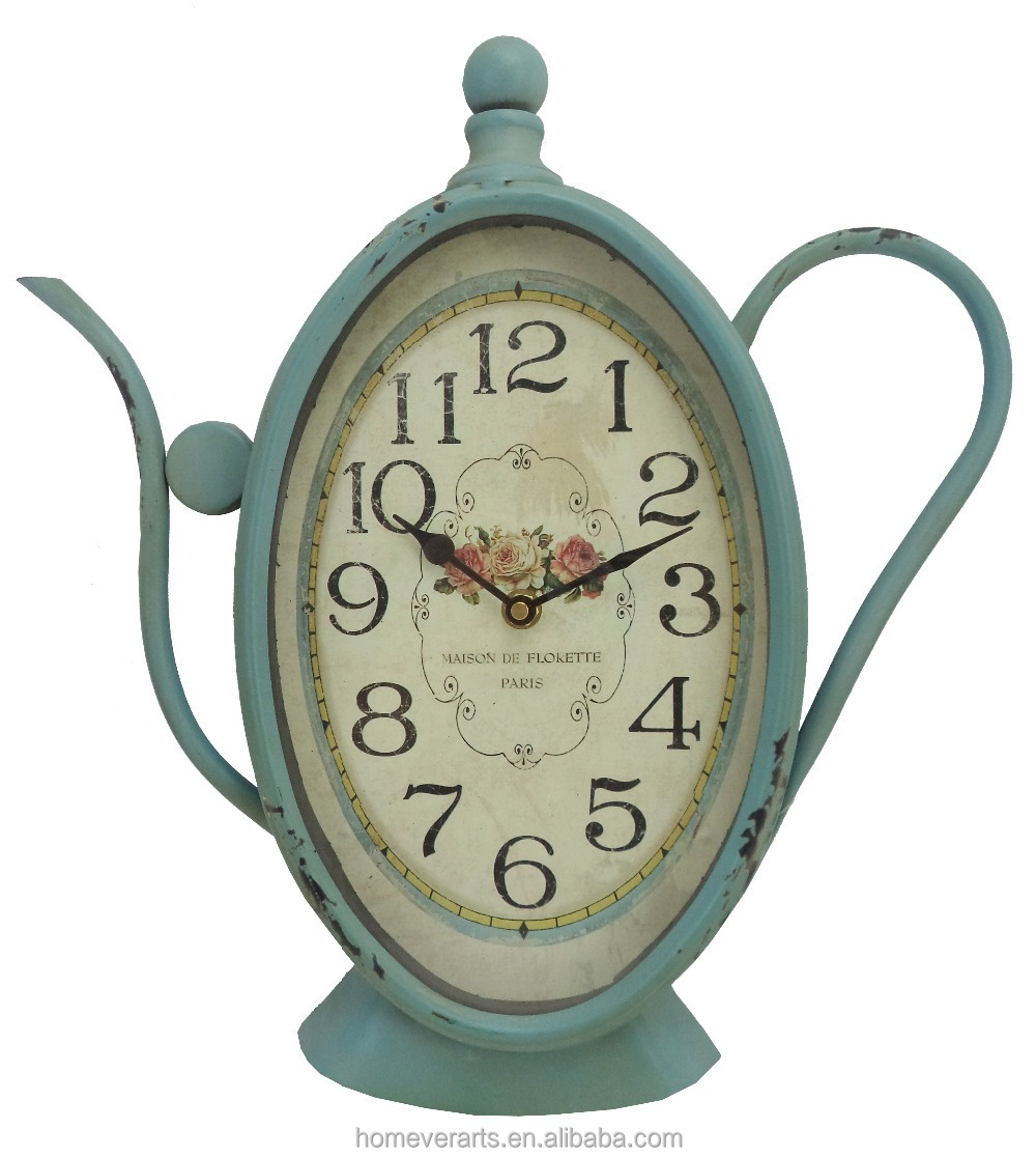 Antique green vintage rose design teapot shaped wall clock