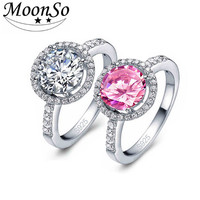 Real silver 925 sterling silver jewelry pink cz diamond gemstone wedding engagement ring jewellry for women KR210S MOONSO