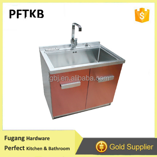 Handmade Stainless Steel Integrated Kitchen Sink Cabinet