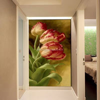 2015 Hot Sales European style wall painting floral entrance hallway mural non-woven Canvas bedroom mural painting