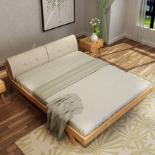 solid queen size wooden bed bedroom furniture double bed oak bed