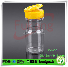 100ml PET plastic spice bottle factory,flip top cover