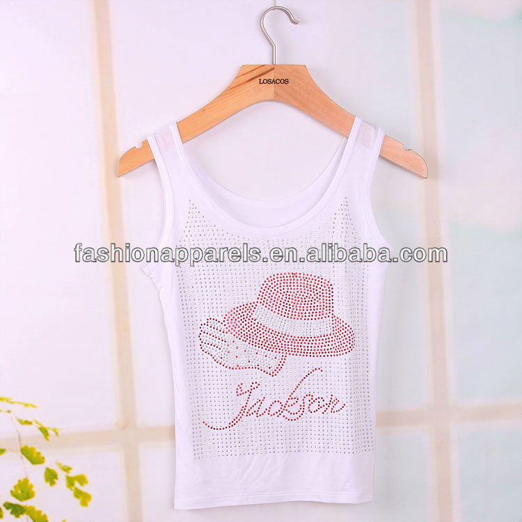 Cotton tank top with rhinestone decoration