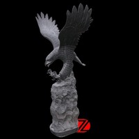 Natural Black Marble Eagle Statue Garden Sculptures