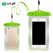 Cool flash bling phone accessory waterproof case glow in the dark waterproof phone pouch case for iPhone X 8 plus Samsung Galaxy
