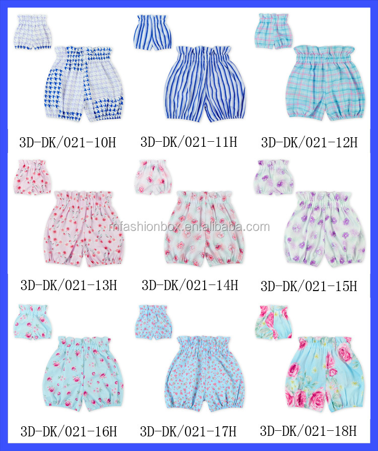 Summer Shorts Kids Girls Seersucker Bubble Floral Toddler Girls Bloomers Wholesale Cotton Short Shorts