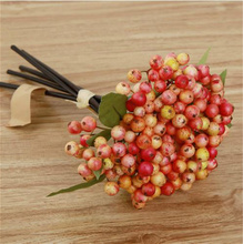 Artificial Berry Branches with Leaf Stem Fruit Bean Flowers for Christmas Decoration