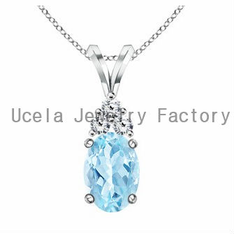 Oval Aquamarine and Round Diamond V-Bale big Pendant newborn baby jewelry