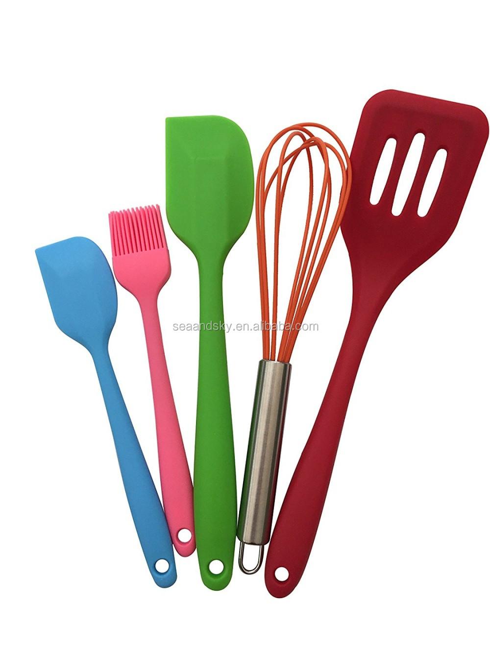 Bamb pl stico de acero inoxidable utensilios de cocina de silicona 5 unidades premium - Utensilios de cocina de silicona ...