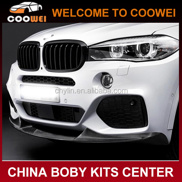 2014-2015 carbon fiber F15 X5M To M-P style front bumper spoiler front lip for BMW X5 (M tech bumper only)
