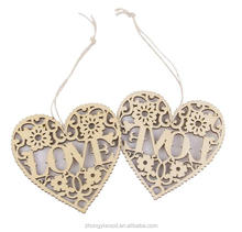 FSC BSCI SA8000 Heart Shaped Wooden Hanging Ornament Decoration with String wholesale