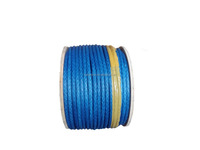 blue high performance UHMWPE rope/line with wooden tray winch line