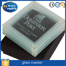 Personalized silk print tempered coasters drink glass for sale