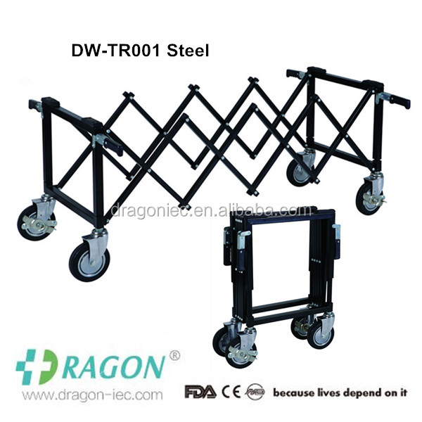 Aluminum alloy funeral cadaver mobile church trolley for casket