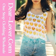 Fashion 2015 Sexy Summer Emoji Print Crop Womens Tops Clothing