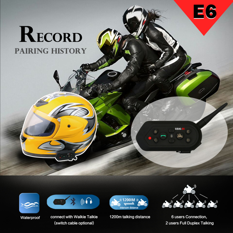 Intercom 2 riders full duplex with 6 equipment motorcycle walkie talkie AUX and VOX