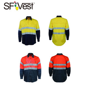 100% cotton Long sleeve workwear coverall and safety shirt with 3M reflective tape for man and women