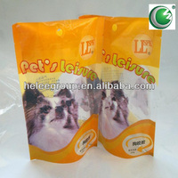 Bottom gusset Plastic pet food bag with top resealable zipper