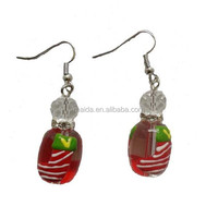 Hot sale imitation jewelry glass bead christmas glass bead earrings XSR005